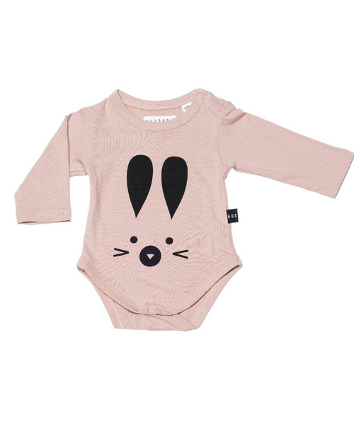 Huxbaby Organic Cotton Long Sleeve Hux Bunny Onesie, Fawn