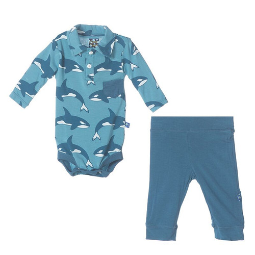 Kickee Pants Polo Pocket One Piece and Pant Outfit Set, Blue Moon Orca