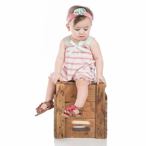 Gathered Romper with Bow, Girl Desert Stripe