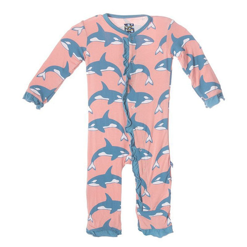 Kickee Pants Fitted Muffin Ruffle Coverall, Blush Orca