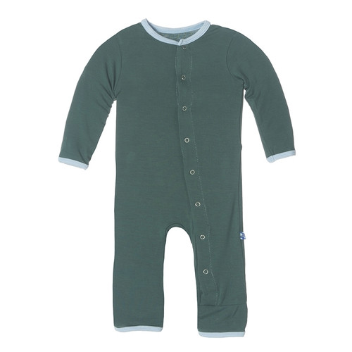 Kickee Pants Solid Fitted Coverall, Seaweed with Pond