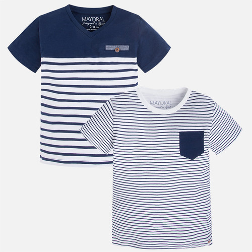Mayoral Boys Short Sleeve Striped Tee Set of 2, Blue