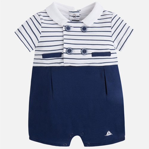Mayoral Baby Boys Formal Romper, Navy