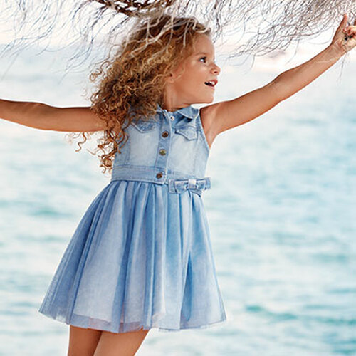 Mayoral Girls Denim Combo Dress, Light Blue