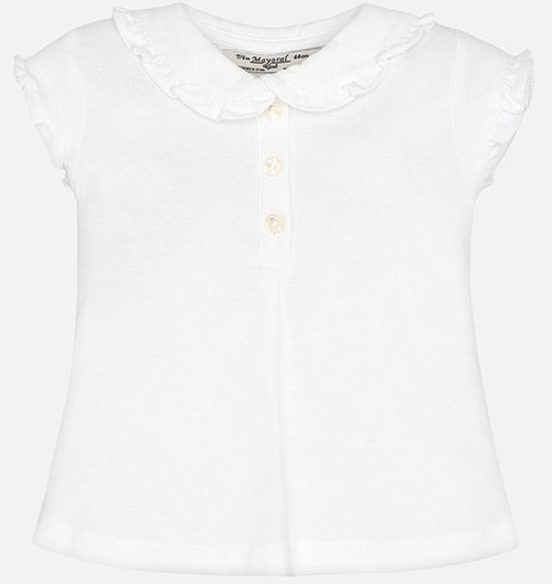 Mayoral Girl short sleeve polo with frill, White