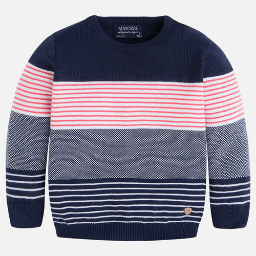 Mayoral Boy long sleeve striped jumper, Lychee