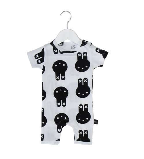Huxbaby Organic Cotton Hux Bunny Short Romper, Black and White