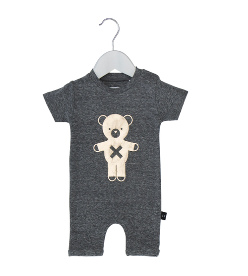 Huxbaby Organic Cotton Soldier Bear Short Romper, Grey Marle