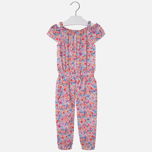 Mayoral Girls Print Jumpsuit, Flamingo