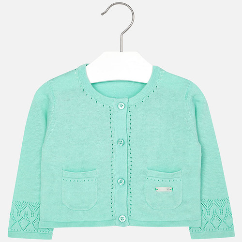 Mayoral Baby girl knit cardigan with pockets, Aquamarine