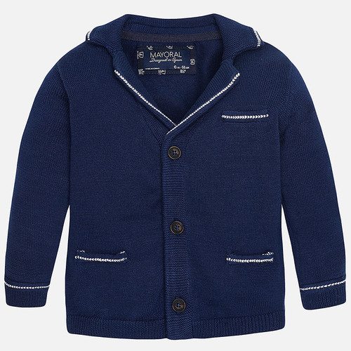 Mayoral Baby boy knit jacket with lapels, Star Night