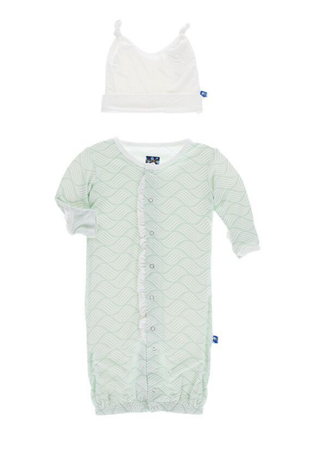 Kickee Pants Ruffle Layette Gown Converter & Ruffle Knot Hat Set, Aloe Water Lattice