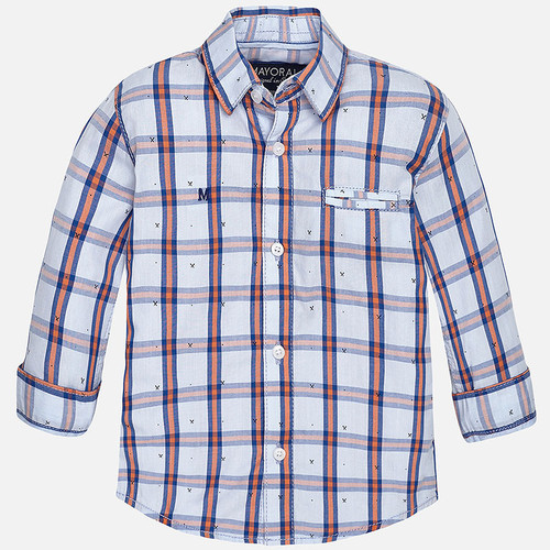 Mayoral Baby Boys Long Sleeve Check Shirt - Tangerine