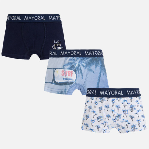 Mayoral Pack of 3 trunks plain and print designs, Blue
