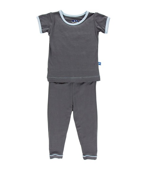 Kickee Pants Solid Short Sleeve Pajama Set, Stone with Pond