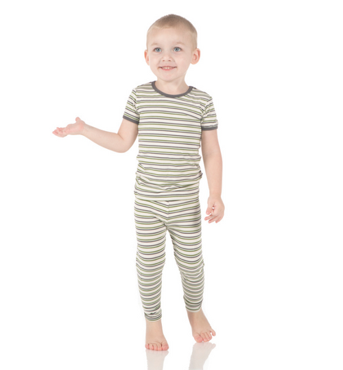 Kickee Pants Print Short Sleeve Pajama Set, Boy Fresh Water Stripe