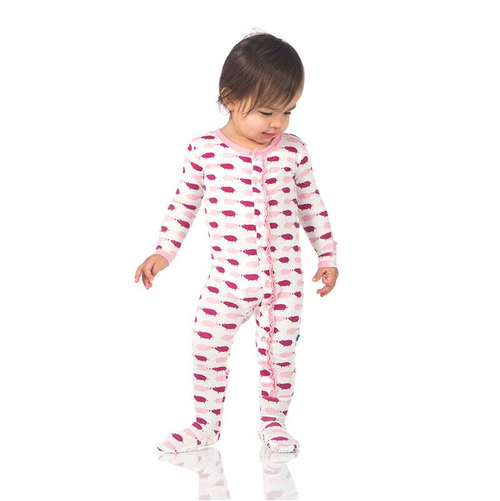 Kickee Pants Print Ruffle Footie, Natural Pigs