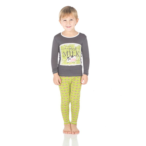 Kickee Pants Print Long Sleeve Pajama Set, Meadow Cow