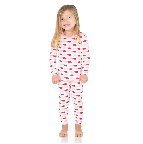 Kickee Pants Print Long Sleeve Pajama Set, Natural Pigs