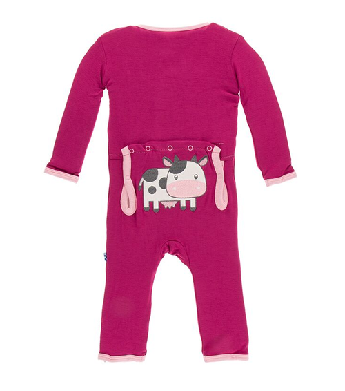 Kickee Pants Applique Coverall, Berry Cow [Zipper]
