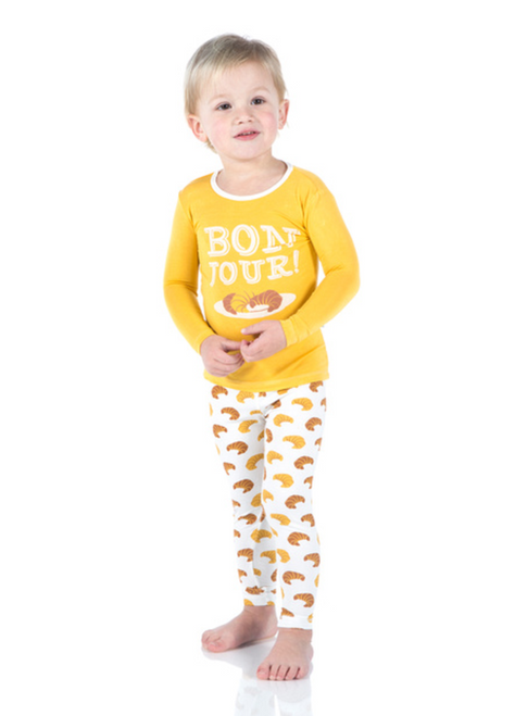 Kickee Pants Print Long Sleeve Pajama Set - Natural Croissants