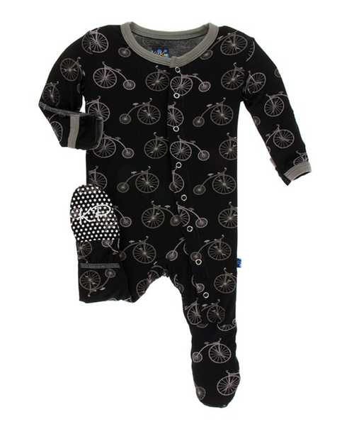 Kickee Pants Print Footie with Snaps - Boy Midnight Bikes