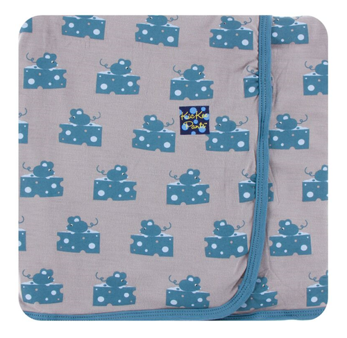Kickee Pants Print Swaddling Blanket - Feather Mouse and Cheese