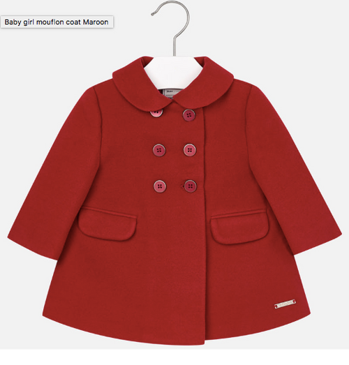 Mayoral Baby Girls Mouflon Coat, Maroon