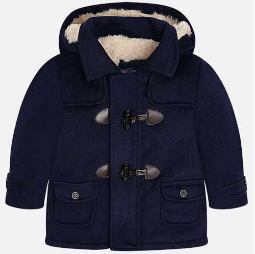Mayoral Baby Boys Faux Fur Trench Coat - Blue