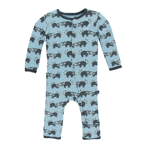 Kickee Pants Print Coverall, Pond Raccoon