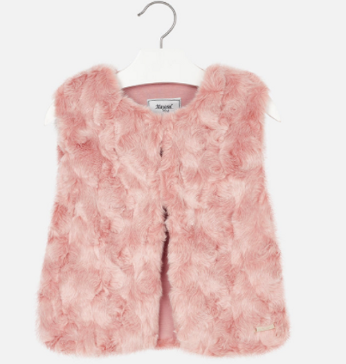Mayoral Girls Faux fur vest, rose