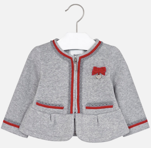 Mayoral Girls Fleece Jacket with Zipper, Silver