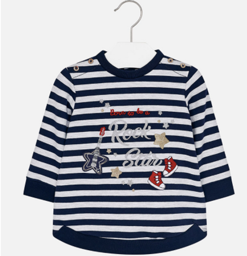 Mayoral Girls long-sleeve striped fleece dress, Navy