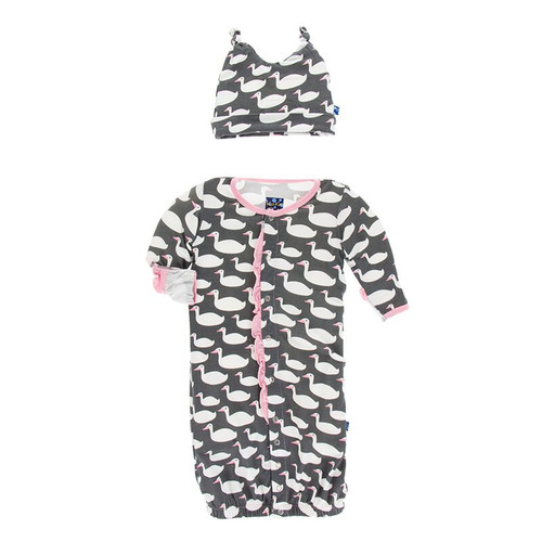 Kickee Pants Ruffle Layette Gown Converter & Knot Hat Set - Stone Geese
