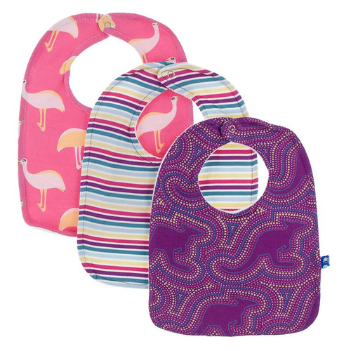 Kickee Pants Bib Set of 3 - Flamingo Emu, Girl Perth Stripe, & Starfish Kangaroo