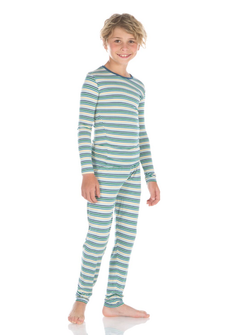 Kickee Pants Print Long Sleeve Pajama Set - Boy Perth Stripe