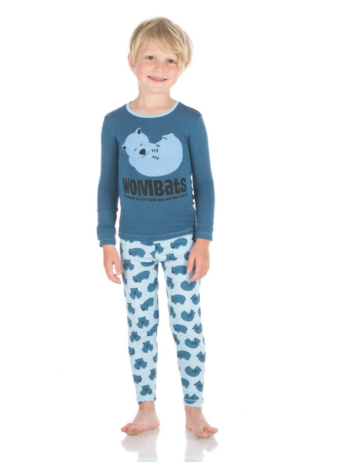 Kickee Pants Print Long Sleeve Pajama Set - Pond Wombat