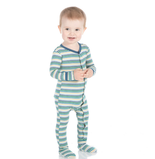 Kickee Pants Print Footie with Snaps - Boy Perth Stripe