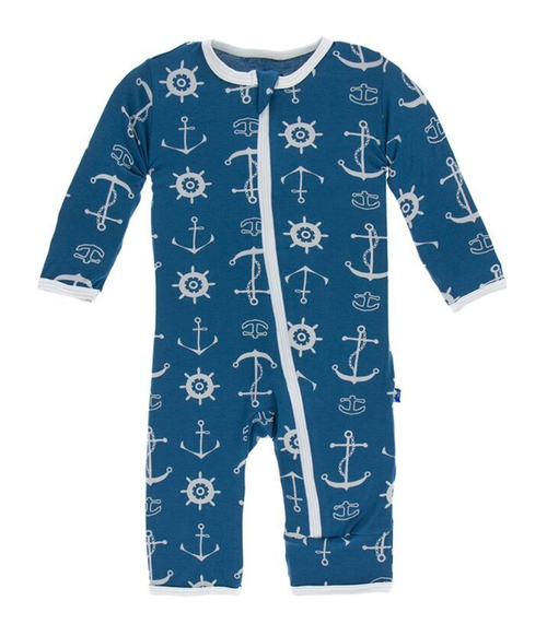 Kickee Pants Print Coverall with Zipper - Twilight Anchor
