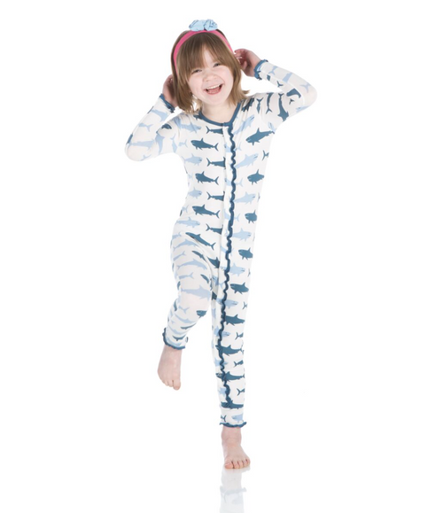 Kickee Pants Print Ruffle Coverall with Snaps - Natural Megalodon