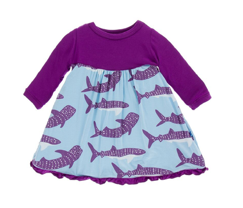 Kickee Pants Classic Long Sleeve Swing Dress - Pond Whale Shark