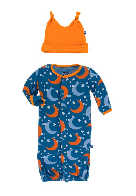 Kickee Pants Layette Gown Converter & Knot Hat Set - Twilight Moon and Stars