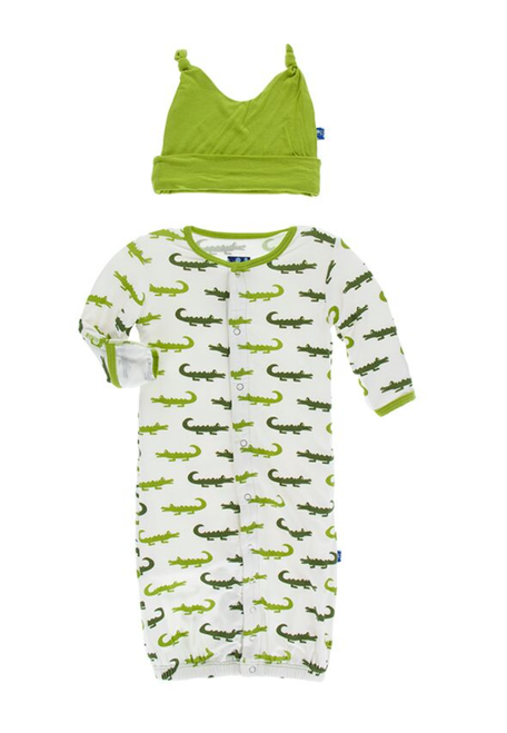 Kickee Pants Layette Gown Converter & Knot Hat Set - Natural Crocodile