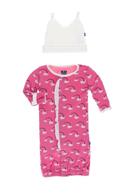 Kickee Pants Ruffle Layette Gown Converter & Knot Hat Set - Flamingo Rainbow