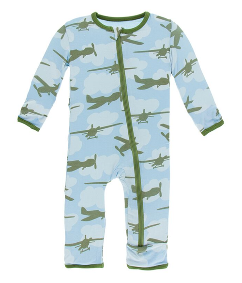 Kickee Pants Print Coverall with Zipper - Pond Airplanes