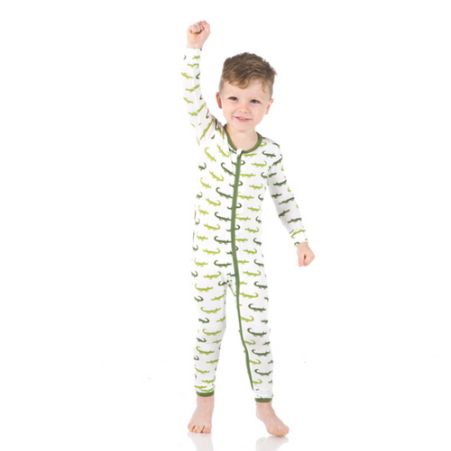 Kickee Pants Print Coverall with Zipper - Natural Crocodile