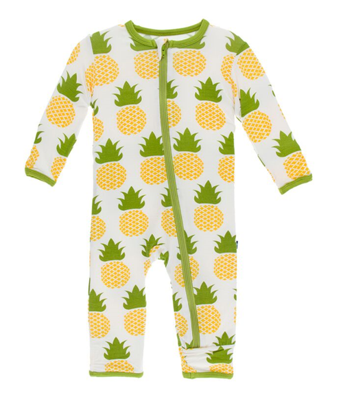Kickee Pants Print Coverall with Zipper - Natural Pineapple