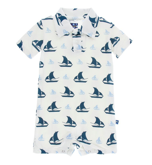 Kickee Pants Print Polo Romper - Natural Sailboat