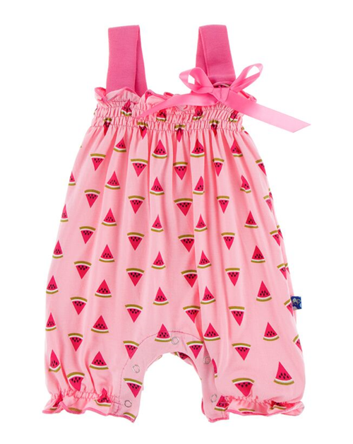 Kickee Pants Print Gathered Romper with Bow - Lotus Watermelon