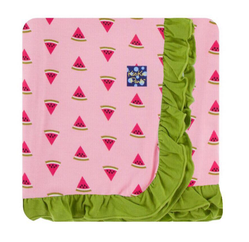 Kickee Pants Custom Print Ruffle Toddler Blanket - Lotus Watermelon with Meadow Trim and Reverse